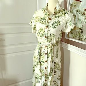 Palm tree print summer shirt dress